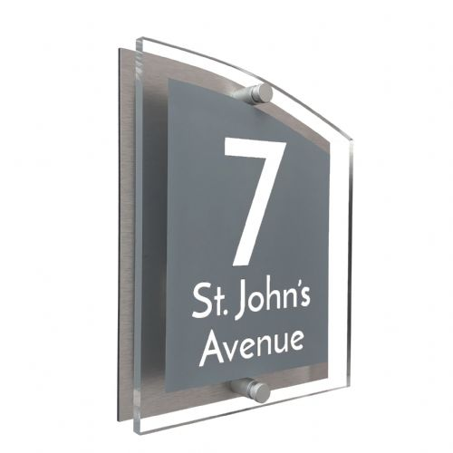 Arc Shape - Clear Acrylic House Sign - Mid Grey Colour with White text in Font  3